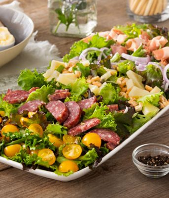 CHARCUTERIE CHEF SALAD WITH FIG WHITE BALSAMIC DRESSING